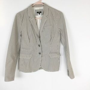J. Crew gray pinstripe seersucker 2 button  jacket